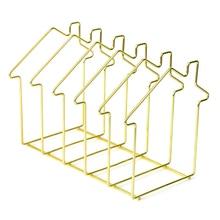 Simple Nordic Iron Art Desktop Storage Rack Bookshelf Magazine Holder Organizer Rack for Document Folder Letter - House Shape все цены