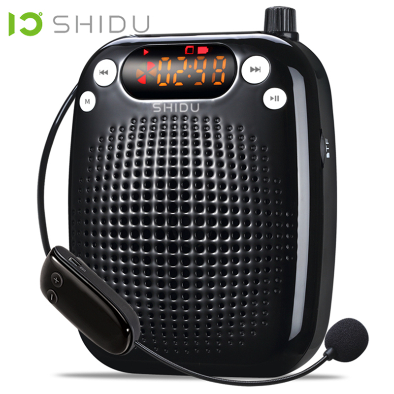 SHIDU FM Stereo Radio Wireless Portable Voice Amplifier UHF Mini Audio Speaker For Teacher Tourrist Guide