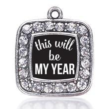 Антикварная Посеребренная блестящая бижутерия это будет мой год квадратный Шарм
