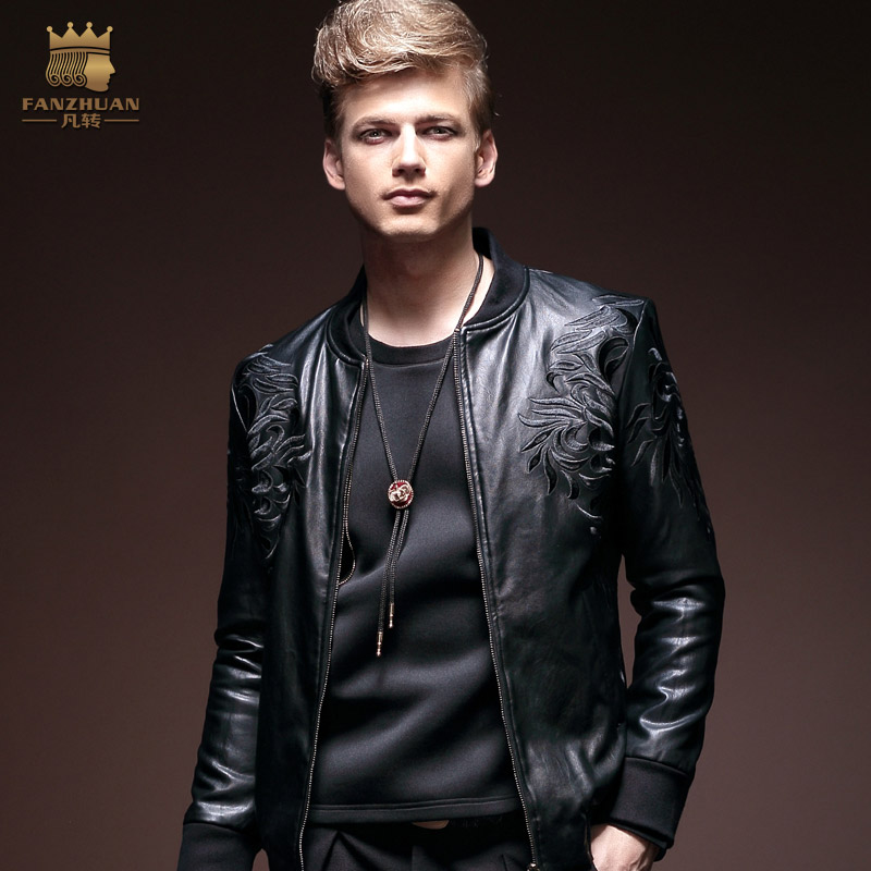 Free Shipping New fashion male Men's casual  Autumn leather zipper Metrosexual jacket slim black motorcycle models 14046 On Sale