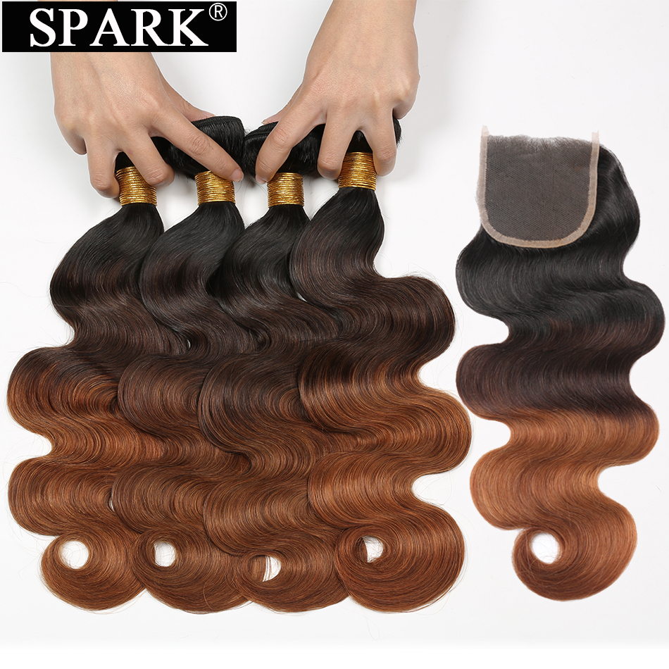 Spark Remy Hair Weave 1B/4/30 Ombre Malaysia Body Wave Human Hair Bundles with Lace Closure 3/4 Bundles with Closure Middle Part