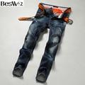 Beswlz Vaquero Jeans Brand Jeans Hombres Vaqueros Masculinos Delgados Rectos Pantalones de Moda Clásico Estilo Casual Hombres Blue Jeans 9519