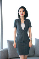 Fashion Striped Formal Blazer Women Skirts Suits Office Ladies Business Clothes Work Wear Uniform Styles Blazers Sets Summer