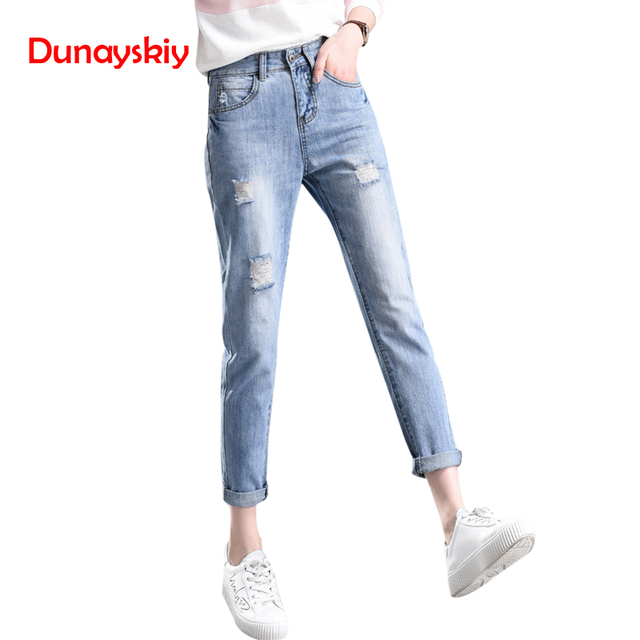 42967fa3daa1 Dunayskiy Jeans Woman Blue Vintage Casual Loose Boyfriend High Waist Mom  Jeans Ripped Denim Pants Plus Size For Women Trousers