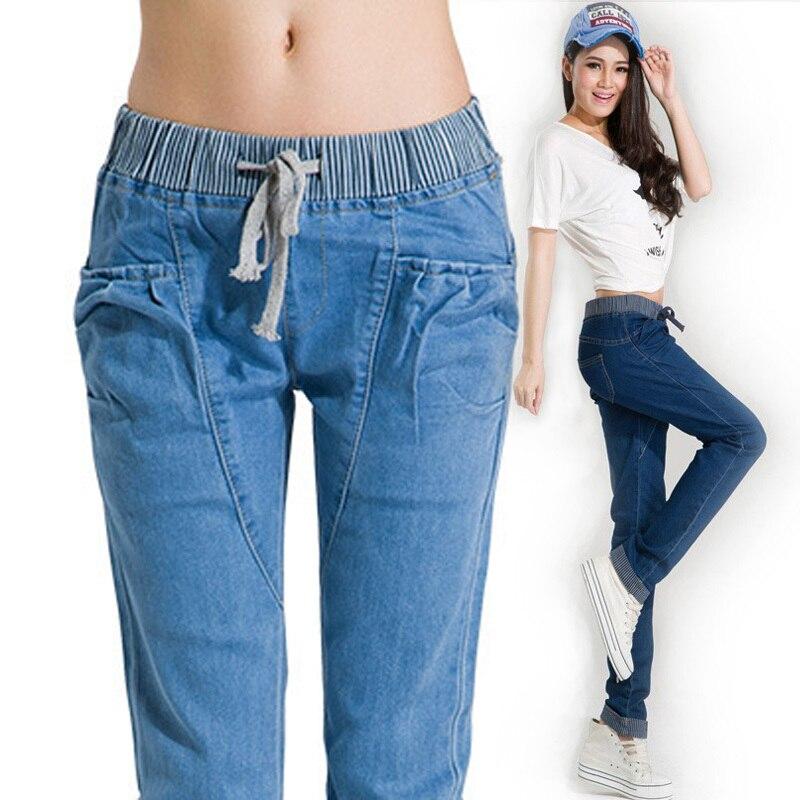 Fashion Woman Jeans Casual Style Pocket Plus Size Elastic Waist Ladies Pencil Denim Pants Color Dark Blue Light Blue Dy5 Denim Pants Fashion Women Jeanswomen Fashion Jeans Aliexpress