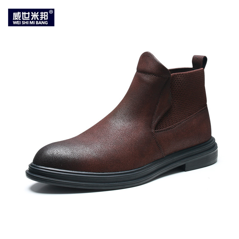 Men Winter Heel Shoes Square Pointed Toe Ankle Boots Slip On Thick Black Wedding Man