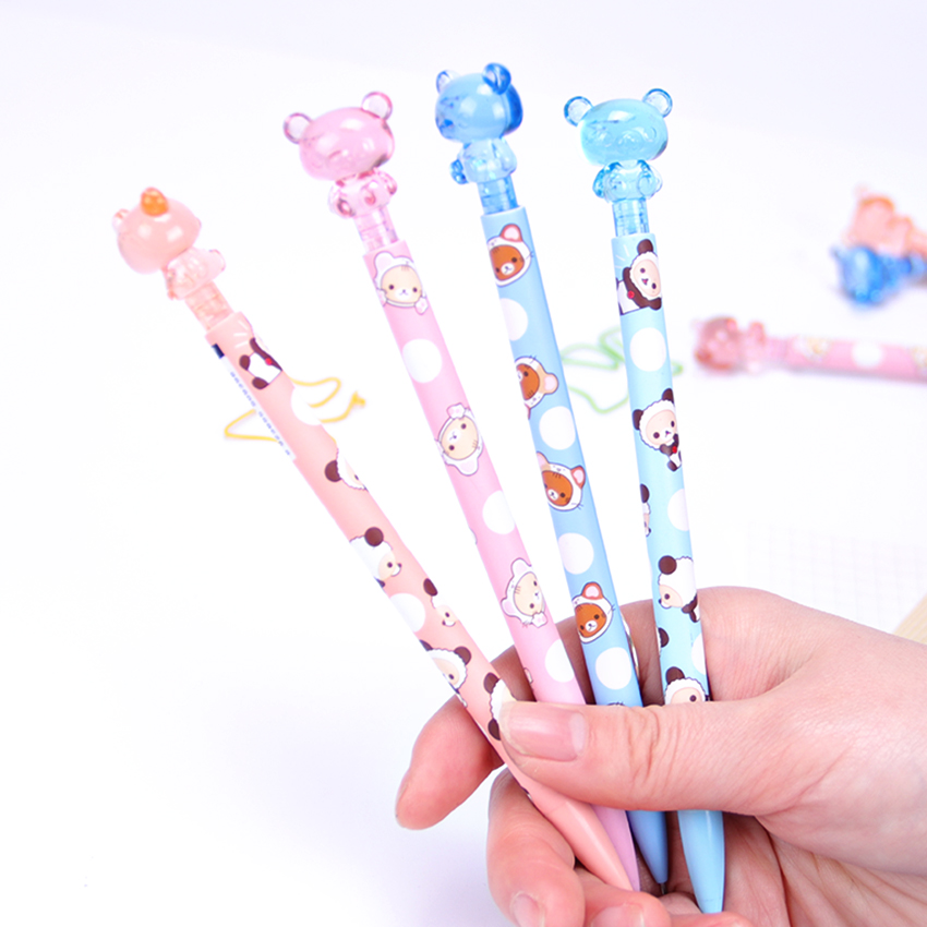 1PC Korean Stationery 0.7MM Kawaii Plastic Mechanical Pencil Lovely Bear Press Automatic Pens Office Student Supplies