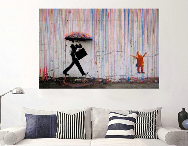 Banksy Street Art Walking Under The Colorful Rain Oil Painting Modern Wall Canvas Printed For Living Room Paintings