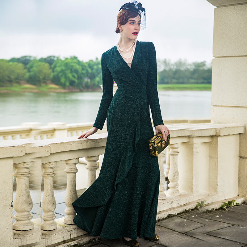 2018 Fashion Cascading Ruffle Dress Evening Party Elasticity Long Dress Women Clothing Long Sleeves Robe 6960