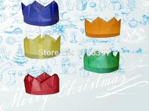 Free ship Wholesale 144pc Christmas tissue paper crown cap cracker making kits paper hat party favors pinata bag fillers