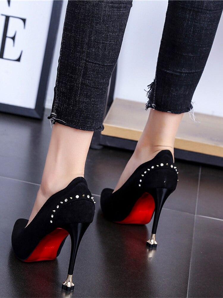 Haut Simples 2 Strass 1 Talon Stiletto Bouche Printemps Nouveau 2019 Pointu Rivet Des Profonde De 3 Travail Chaussures Peu Avec Femmes Chat qvqSwf