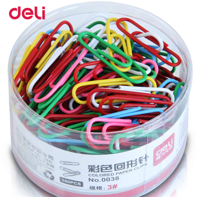 Deli MIX Color Paper Clips Student Stationery Large Metal 160 Pcs A Set Metal Clips Office Learn Student Clips