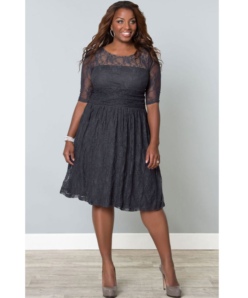 Plus Size Tea Length Evening Dresses With Sleeves - Wedding Dress ...