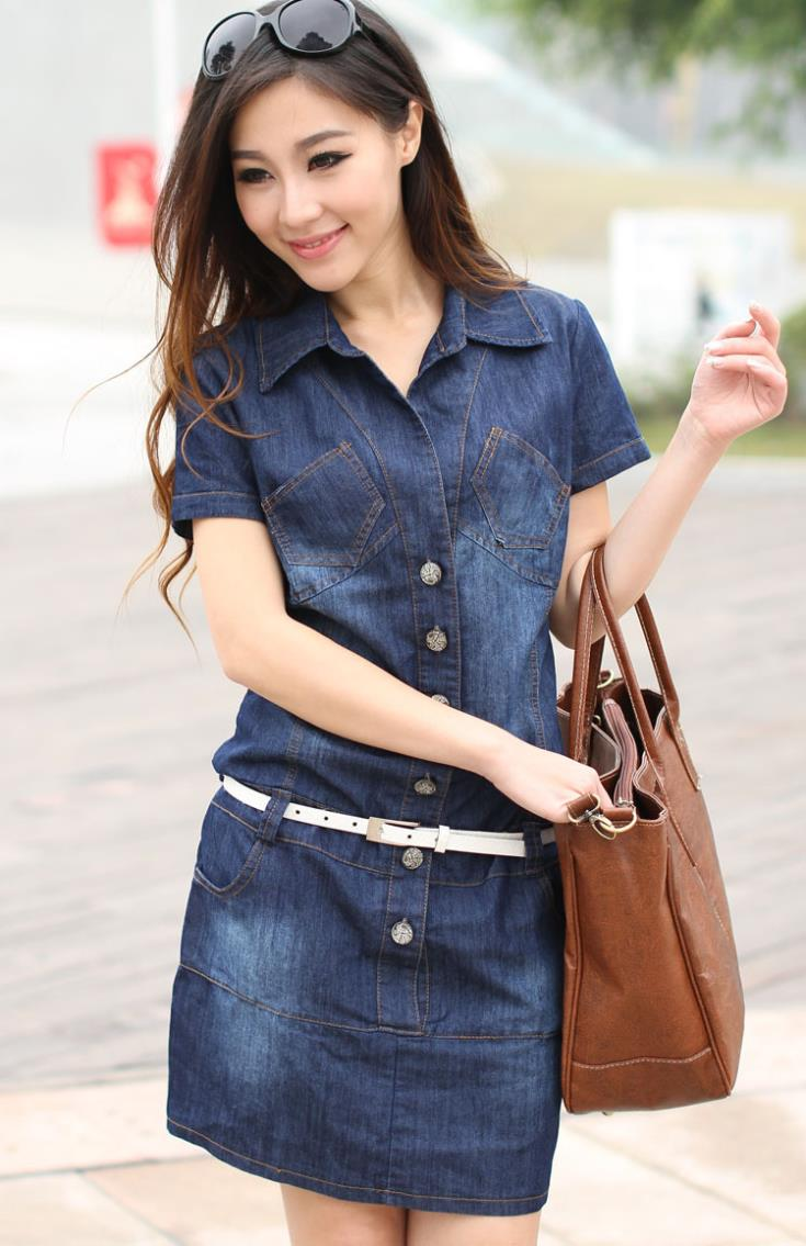 Online Shop New Female/Ladies Casual Denim Dress Plus Size Vintage
