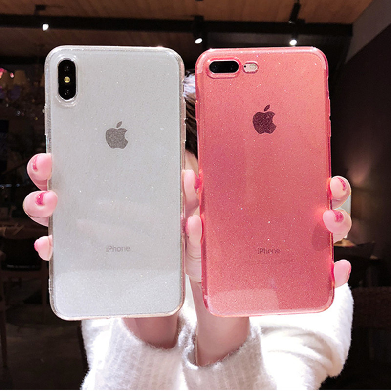 Glitter Transparent Silicon Soft TPU Case For iPhone 7 8 6 6s Plus Ultra Thin Plain Bling Case For X XR XS MAX Phone Back Cover