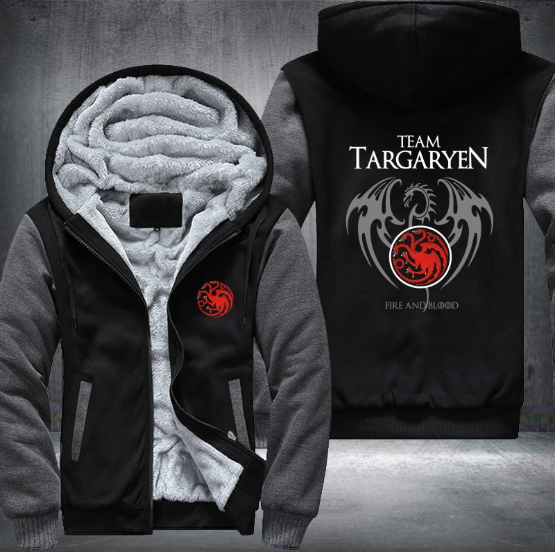 New Differ  Game Of Thrones House Of Targaryen Graphic Super Warm Thicken Fleece Zip Up Hoodie Men's Coat Red Shipping USA Size-in Hoodies & Sweatshirts from Men's Clothing    1