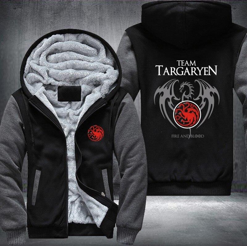 Nouveau différent Game Of Thrones maison de Targaryen graphique Super chaud épaissir polaire sweat à capuche zippé hommes manteau rouge expédition taille USA
