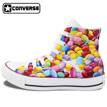 Colourful High Top Converse All Star Hand Painted Shoes Custom Original Design Chocolate Bean Men Women's Canvas Sneakers