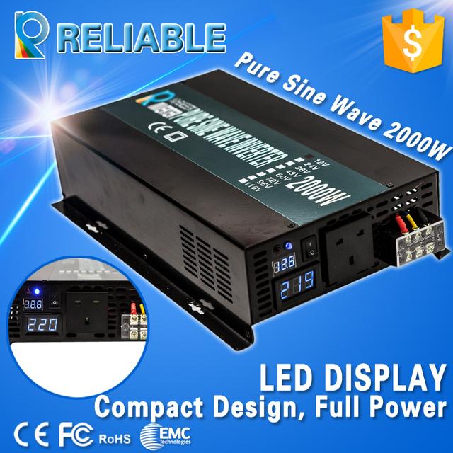 LED Display Off Grid Inverter 2000W 12V/24V/48V DC to AC Converter Pure Sine Wave Solar Inverter Home Inverter Home Power Supply