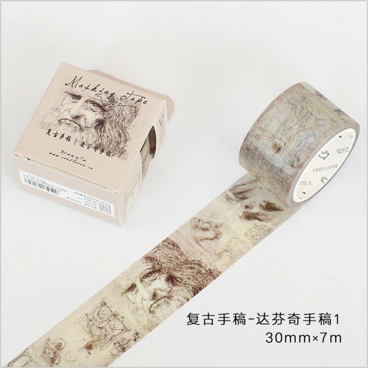 30mm wide Retro Da Vinci manuscript artwork Sketch Travel decoration scotch washi tape DIY diary planner scrapbook masking tape dynavox da 30