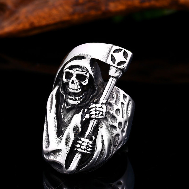 STAINLESS STEEL SCREAM SKULL RING