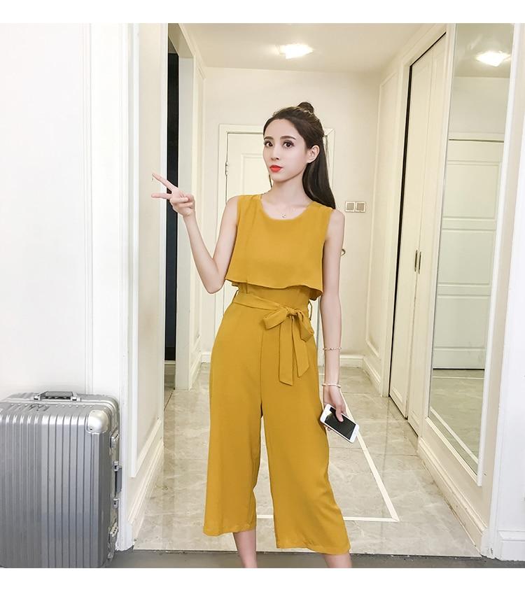 Korean Style 2019 New Women Jumpsuits High Waist Wide-leg Woman Bodysuit Rompers Womens Jumpsuit Combinaison Femme 11