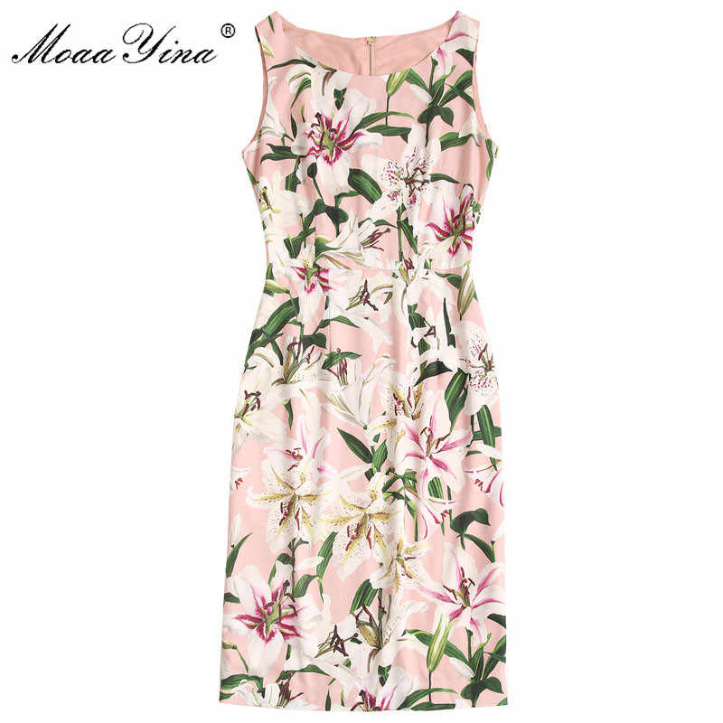 MoaaYina модное дизайнерское подиумное платье Весна Лето Женское платье без рукавов Лилия цветочный принт тонкие элегантные платья