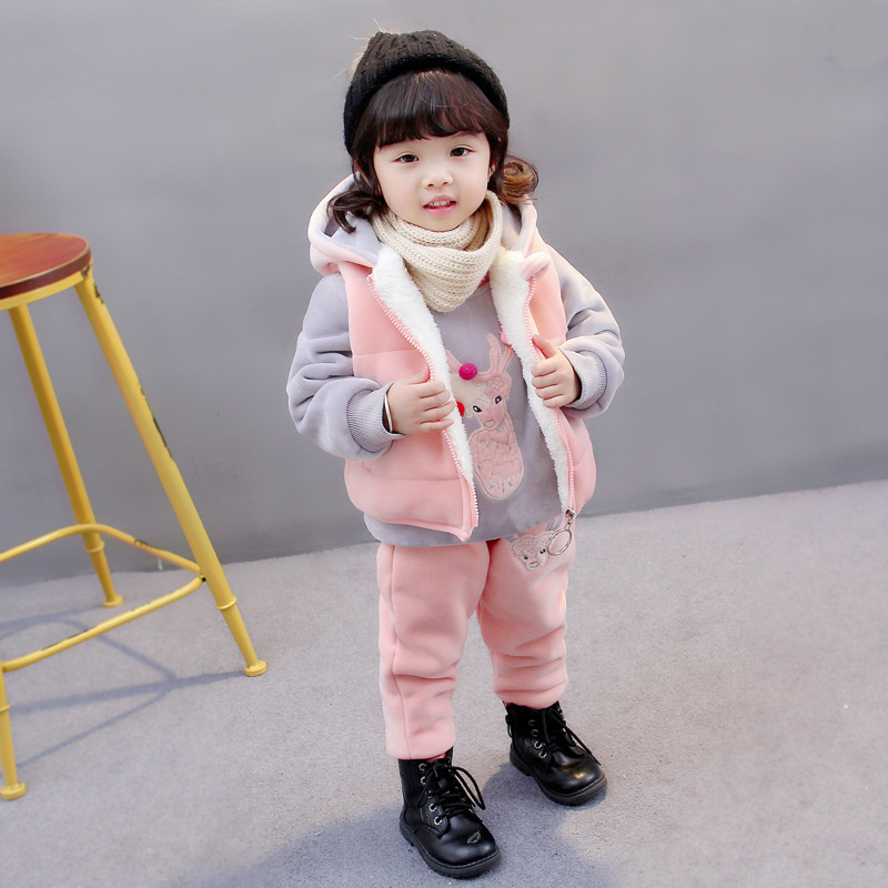Spring Autumn Children Add Cotton Clothes Baby Boys Girls Hooded Vest T-shirt Pants 3Pcs/Sets Kids Fashion Clothing Tracksuits