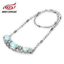 Vintage Natural Larimar Stone Tibetan  925 Sterling Sliver Oval Statement Necklaces & Pendants Jewelry