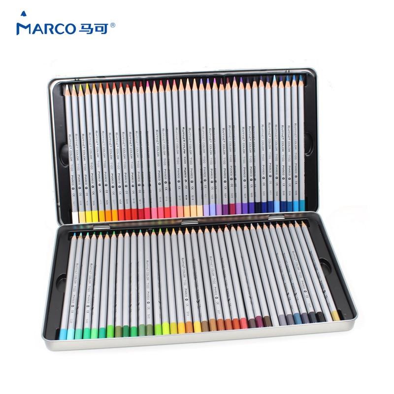 MARCO 7100 Prismacolor 나무 색연필 72 오일 판지 철 상자 전문 그리기 연필 스케치 아트 학교 용품