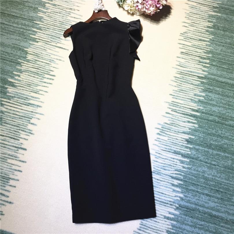 все цены на New arrival 2018 spring summer fashion women elegant little black dress sleeveless ruffles sexy sheath dresses plus size XXL