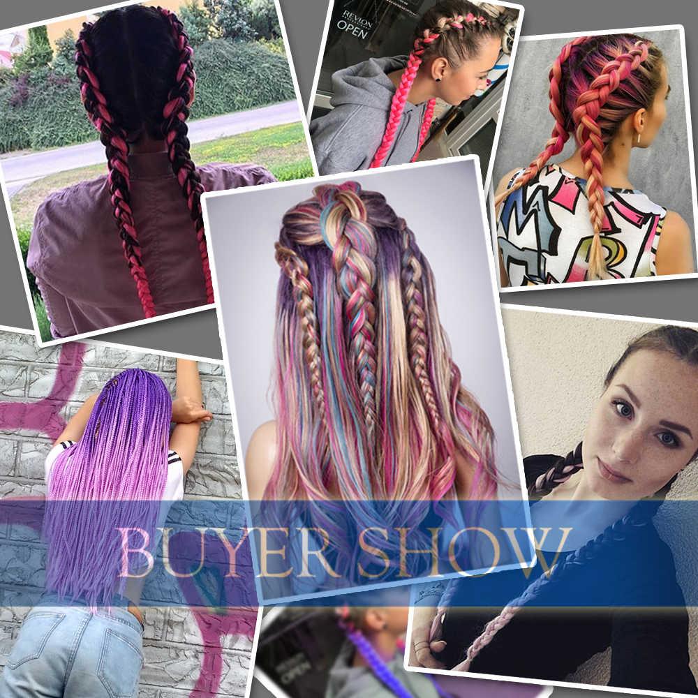 Волосы большие синтетические косы эффектом деграде (переход от темного к заплетённые волосы, коробка, огромные косички из волос, розовый, фиолетовый, зеленый цвет серый, желтый, золотой, экспрессия, косы