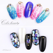 12 Colors Nail Shell Decoration Black Box Package Accessories Art Mixes Size Stones NDR01