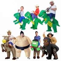 Aufblasbare Dinosaurier Kostüm Frau Cosplay Fan Betrieben Erwachsene Kinder Größe Halloween Tier Kostüme Dino Reiter T-Rex Phantasie Kleid