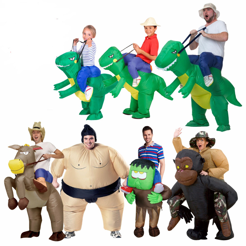 Inflatable Dinosaur Costume Woman Cosplay  Fan Operated Adult Kids Size Halloween Animal Costumes Dino Rider T-Rex Fancy Dress