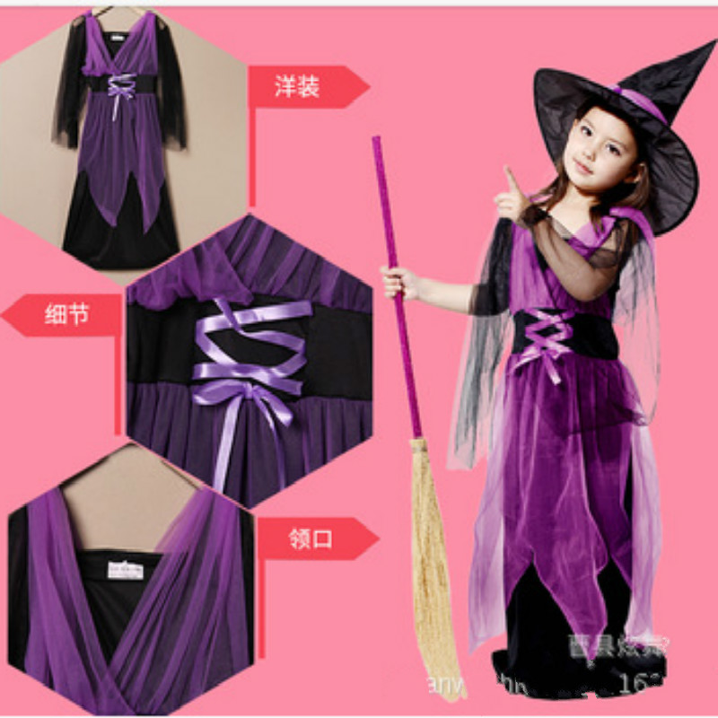 new Witch Costume Fancy Children Halloween 2017 Red Black Witch ...