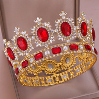 Luxury Red Crystal Full Round Bride Crown Fashion Romantic Princess Wedding Big Crowns Party Prom Hair Jewelry Bridal Tiara