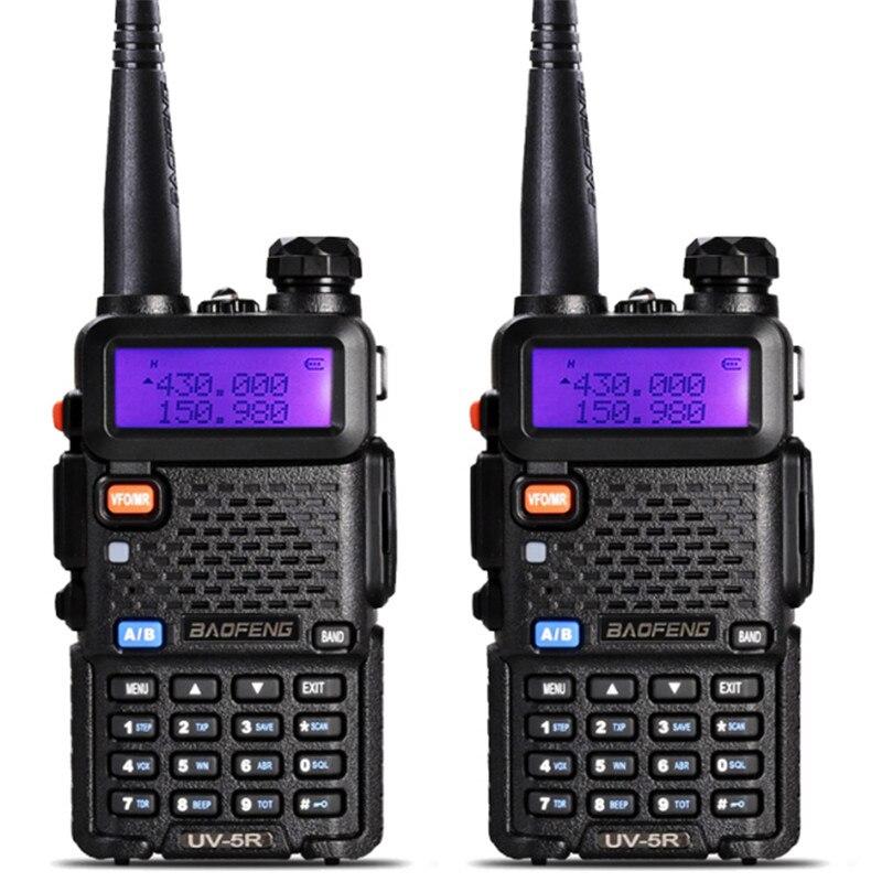 2 pièces UV-5R talkie-walkie professionnel CB Radio Station Baofeng UV5R émetteur-récepteur 5 W VHF UHF Portable UV 5R chasse jambon Radio