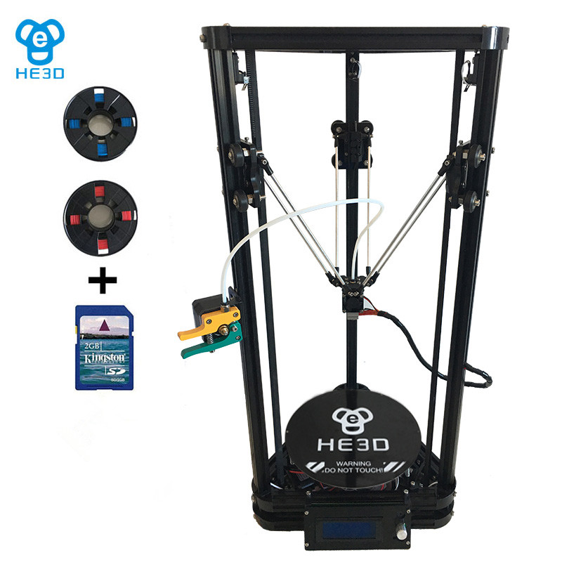 HE3D New upgrade K200 single aluminium extrusion delta 3D printer with heat bed support multi filaments