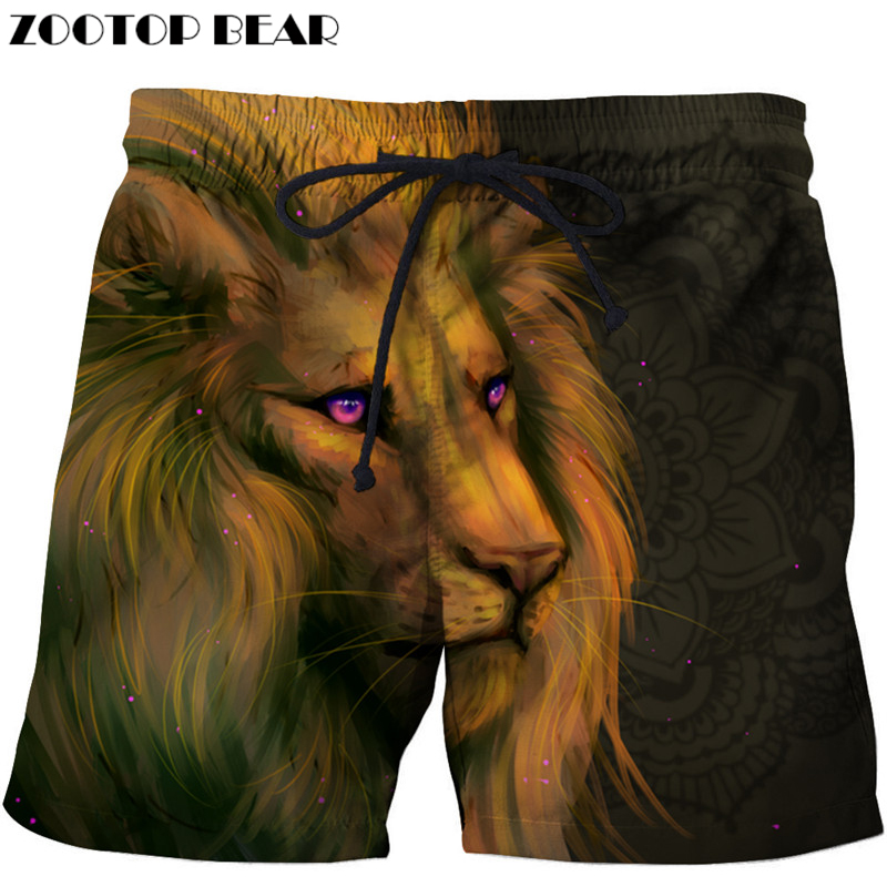 Long Hair Lion Printed Beach Shorts Men Board Shorts 3d Shorts Plage Animal Swimwear Quick     Pants Male Drop Ship ZOOTOP BEAR