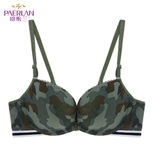PAERLAN  Front Buckle Without Steel Ring Green Camouflage Female Sexy Bra No Trace Vest-style Small Chest Gather Lingerie
