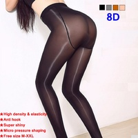 8D High Density High Elasticity Sexy Oil T Crotch Shiny Pantyhose Shining Stockings Hose Dance Fitness