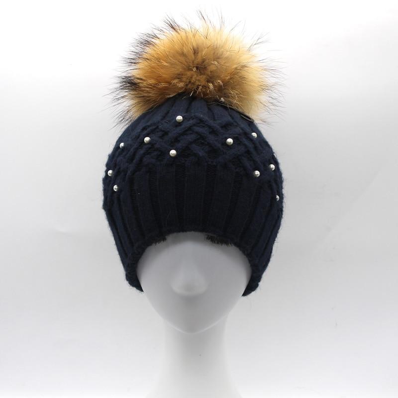Կանացի մորթուց Pompom Hat Տիկնայք - Հագուստի պարագաներ - Լուսանկար 4
