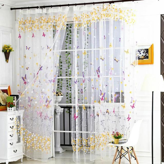 US $3.77 30% OFF|1 PCS Tulle Window Roman Curtain Embroidered Butterfly  Sheer Window Curtains for living room kitchen curtains tulle 100 x 270cm-in  ...