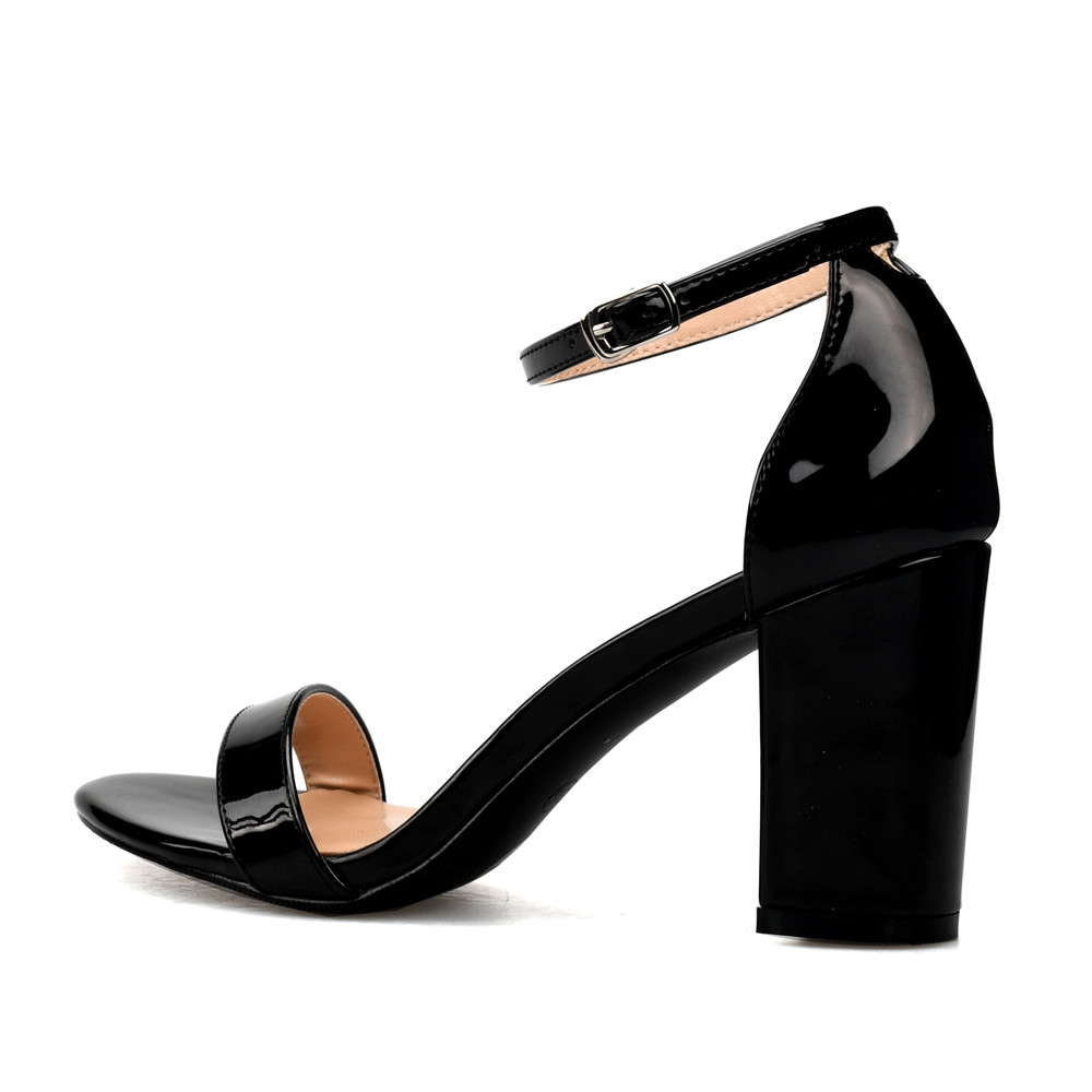 49e484954201 Stylesowner New Arrival Nude Black Color Thick Heels Woman Casual Sandals  High Heels Patent Leather Square Heel Woman Sandals-in High Heels from Shoes  on ...