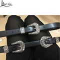 Baoxiu Vintage metal leather belt printing metal buckle women's double silver buckles carving decorative accessories belt dress