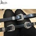 Baoxiu impresión de metal cinturón de cuero hebilla de metal de La Vendimia de las mujeres doble hebillas de plata tallado accesorios decorativos cinturón vestido