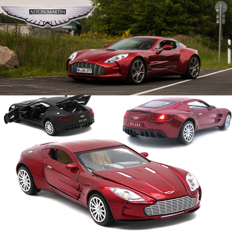 Aston Martin One-77 Metal Toy Cars , 1/32 Diecast Scale Model, Kids Present With Pull Back Function/Music/Light/Openable Door