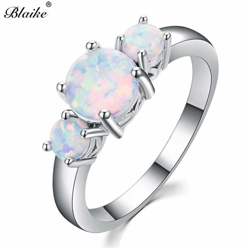 Blaike Round Stone Female White Fire Opal Rings For Women 925 Sterling Silver Ring Rainbow Birthstone Engagement Fine Jewelry