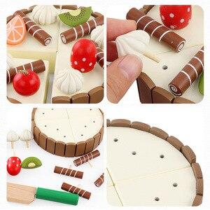Image 2 - En bois bébé cuisine jouets semblant jouer coupe gâteau jouer nourriture enfants jouets en bois fruits cuisson anniversaire cadeaux intérêts jouet